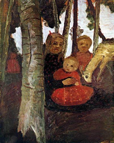 Paula Modersohn-Becker - Drei Kinder mit einer Ziege im Birkenwald
