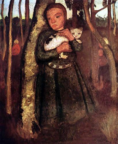 Paula Modersohn-Becker - Mädchen mit Katze im Birkenwald