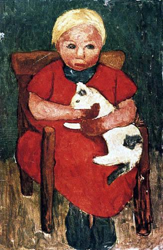 Paula Modersohn-Becker - A blond girl with cat