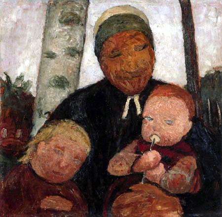 Paula Modersohn-Becker - Bäuerin mit Kind und Säugling vor Birken