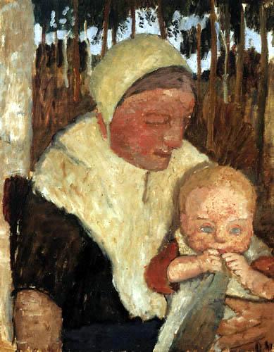 Paula Modersohn-Becker - Bäuerin mit Kind vor Birken