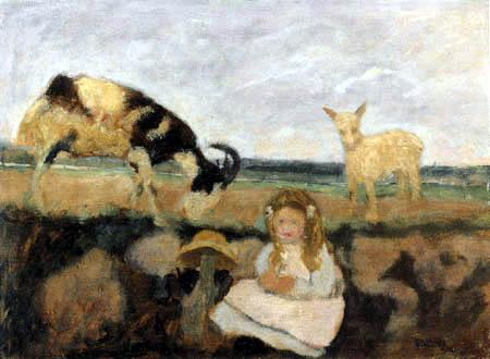 Paula Modersohn-Becker - Elsbeth mit Ziegen