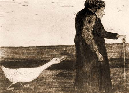 Paula Modersohn-Becker - Eine Frau mit Gans