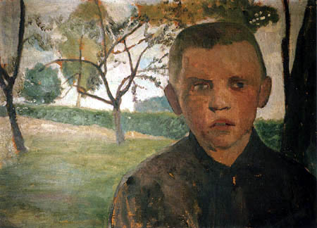 Paula Modersohn-Becker - A boy in front of apple trees