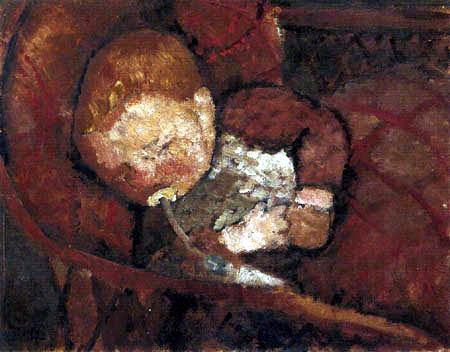 Paula Modersohn-Becker - Kind mit Saugflasche in der Wiege