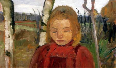 Paula Modersohn-Becker - Mädchen im roten Kleid vor Birken