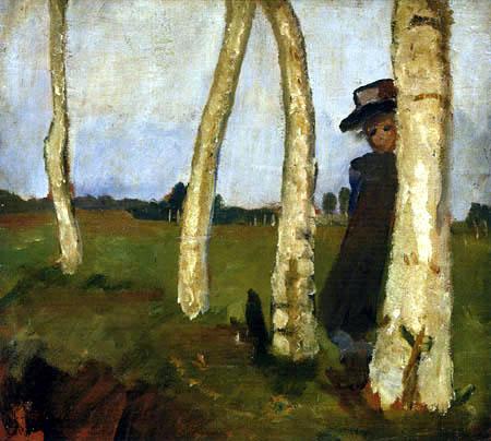 Paula Modersohn-Becker - Mädchen mit Hut zwischen Birkenstämmen