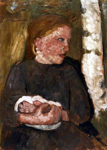 Paula Modersohn-Becker - Mädchen mit Kaninchen im Arm