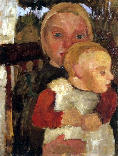 Paula Modersohn-Becker - Mädchen mit Kind auf dem Schoß