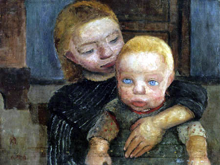 Paula Modersohn-Becker - Mädchen mit Kind im Arm
