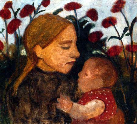 Paula Modersohn-Becker - Mädchen mit Kind vor roten Blumen