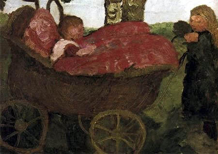 Paula Modersohn-Becker - Girl with a baby carriage with red cushion