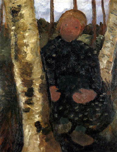 Paula Modersohn-Becker - Sitzendes Mädchen zwischen Birkenstämmen