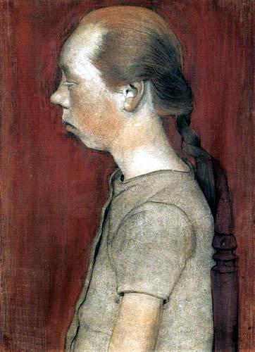Paula Modersohn-Becker - Sitzendes Mädchen mit Profil nach links