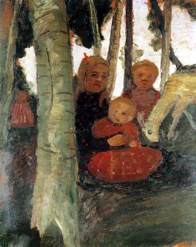 Paula Modersohn-Becker - Vier Kinder mit einer Ziege zwischen Birken