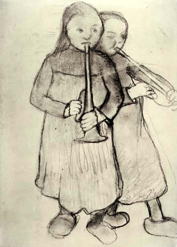 Paula Modersohn-Becker - Zwei Bauernmädchen mit Trompeten