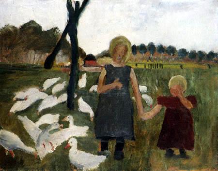 Paula Modersohn-Becker - Zwei Kinder mit Gänsen am Ziehbrunnen