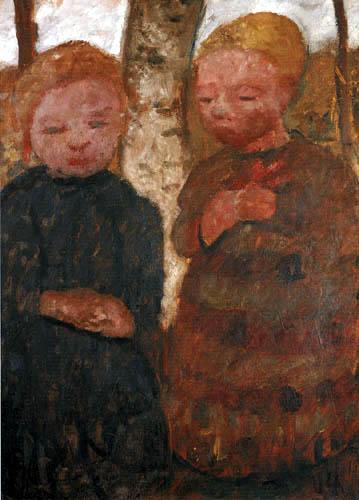 Paula Modersohn-Becker - Zwei Mädchen am Birkenstamm