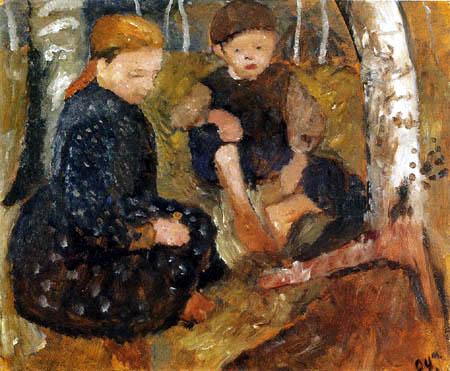 Paula Modersohn-Becker - Zwei sitzende Kinder im Wald