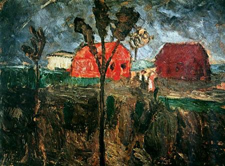 Paula Modersohn-Becker - Zwei rote Häuser in Moorlandschaft