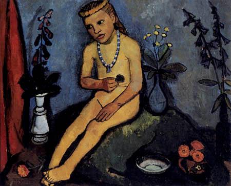 Paula Modersohn-Becker - Sitzender Mädchenakt mit Blumenvasen