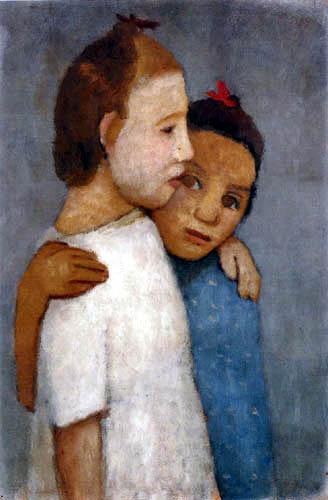 Paula Modersohn-Becker - Zwei Mädchen in weißem und blauem Kleid