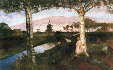 Otto Modersohn - Mondaufgang im Moor