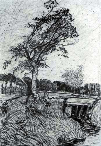 Otto Modersohn - Birch in the wind with bridge