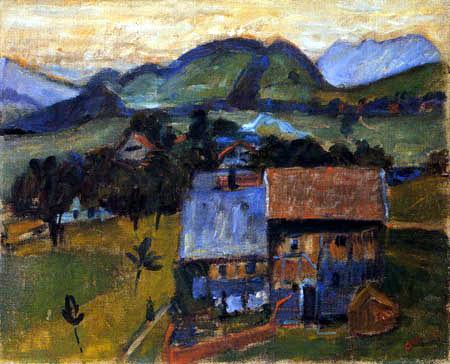 Otto Modersohn - Blick auf Häuser
