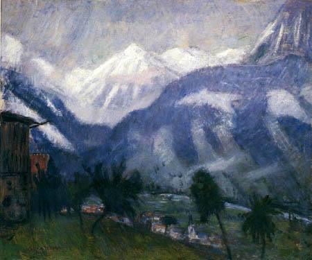Otto Modersohn - Blick vom Gailenberg auf verschneite Berggipfel