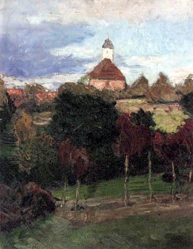 Otto Modersohn - Die Kirche in Worpswede