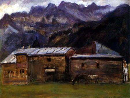 Otto Modersohn - Gebirgslandschaft mit Häusern und Kühen