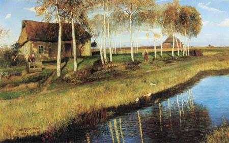 Otto Modersohn - Herbstmorgen am Moorkanal