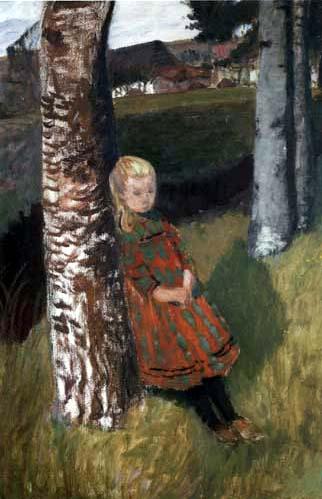 Otto Modersohn - Mädchen am Birkenstamm