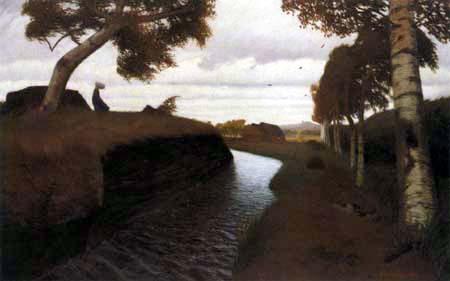 Otto Modersohn - Moorkanal an einem stürmischen Tag