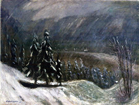 Otto Modersohn - Fir trees in the snow