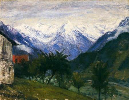 Otto Modersohn - Verschneite Berggipfel