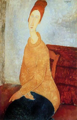 Amedeo Modigliani - Jeanne Hébuterne mit gelbem Pullover