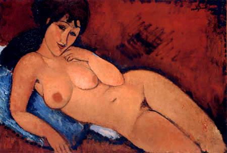Amedeo Modigliani - Akt auf blauem Kissen