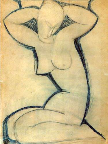 Amedeo Modigliani - Kariatyde, Skizze