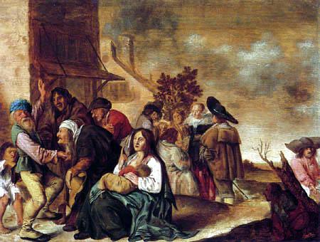 Jan Miense Molenaer - Wahrsagende Zigeuner in einem Dorf