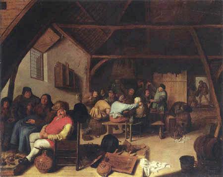 Jan Miense Molenaer - Un interior de la taberna con las figuras que se reclinan por un fuego
