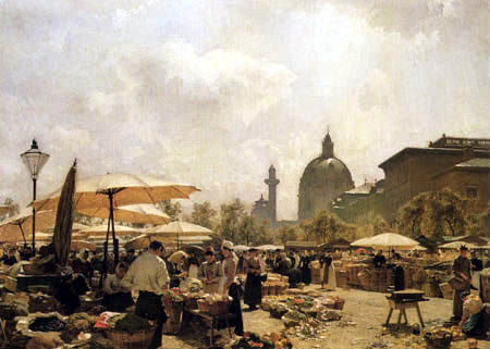 Carl Moll - The Naschmarkt in Vienna