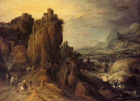 Joos de Momper - A mountainous river landscape with horsemen and travellers