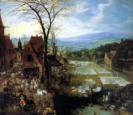 Joos de Momper - Markt und Wäscherei in Flandern