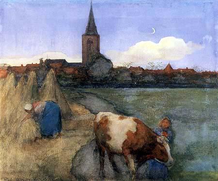 Piet (Pieter Cornelis) Mondrian (Mondriaan) - Escena rural con la Iglesia de San Jacobo