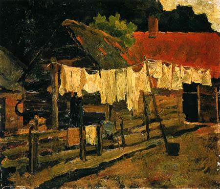 Piet Mondrian - Bauernhof mit Wäscheleinen