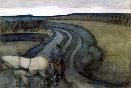 Piet (Pieter Cornelis) Mondrian (Mondriaan) - En el trabajo, en los campos