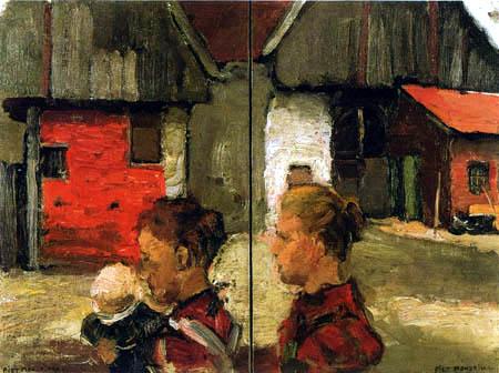 Piet (Pieter Cornelis) Mondrian (Mondriaan) - Mujeres con niño en frente de casa de campo