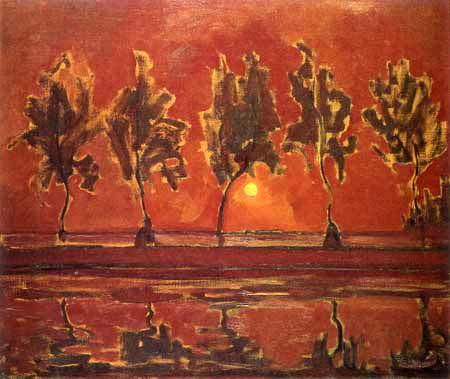Piet Mondrian - Fünf Baumsilhouetten am Gein mit Mond